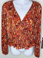 Miss Selfridge Orange Ditsy Floral Plisse Wrap Plunge Peplum Top Blouse Size 10