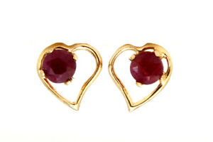 9ct Gold Ruby Studs open heart earrings Gift Boxed Made in UK
