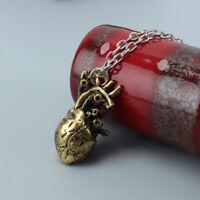 2pcs Retro Anatomical Human Heart Pendant Necklace Sweater Chain Alloy Jewelry