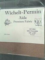 "Wichelt Imports PREMIUM Cross Stitch Fabric AIDA 14ct 18"" X 25"" MILK CHOCOLATE"