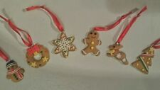 6 FIMO Small 3 cm  Christmas Tree decorations.Gingerbreadman etc.