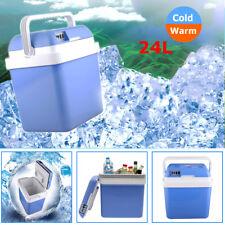 AU 24L Car Boat Mini Refrigerator Travel Fridge Cooler &Warmer Portable 12V Blue