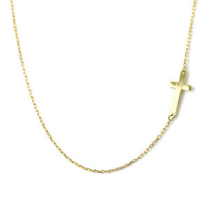Fine 9ct Yellow Gold Trace Chain Necklace with Cross Christian Faith 16 Inches