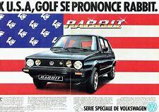 PUBLICITE ADVERTISING 106  1983  Volkswagen (2p) Golf Rabbit série spéciale USA