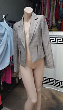 Lovely M & CO Ladies UK sz 12 Lined Silver Shimmer Blazer Short Jacket Fabulous
