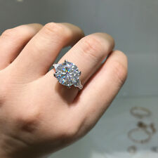 Fancy 5ct White Moissanite 11mm Engagement Ring 14k White Gold Solitaire Accents