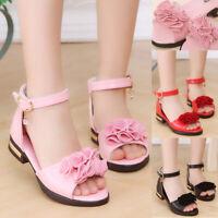 Fashion Kid Girls Peep Toe Flat Sandals Ankle Strap Beach Party Princess Shoes