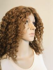 "100% Human Hair Wig Kinky Curly Lightest Brown 16"" Long Tangle Free"