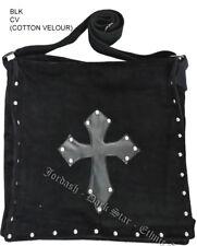 Dark Star Black Stud Cross PVC Velvet Gothic Skull Book Bag