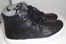 TODDLER BOYS NEXT ANKLE BOOTS SIZE UK 5 EUR 22 BLACK LEATHER STYLE ZIP LACES VGC