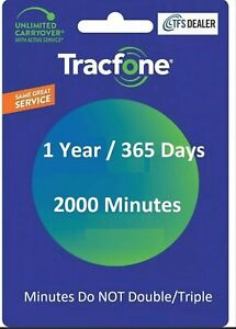 tracfone 1 year service extension with 2000 minutes texts and data