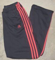 Womens Adidas 3 Stripes Cropped Capri Pants Sweatpants Small Gray Pink 2 Pockets