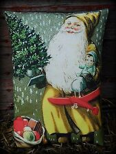 Old antique Christmas Yellow Belsnickle Santa Claus airplane toys feather tree