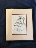 Rare Walt Disney Dr. Dawson Don Ducky Williams Framed and Signed Sketch Drawing