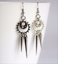 2Spike Cogwheel Gear Antique Silver Earrings Goth Steampunk