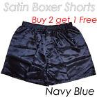 Men's Silk Satin Underwear Homewear Underpants Boxer Shorts Buy 2 get1-Navy Blue