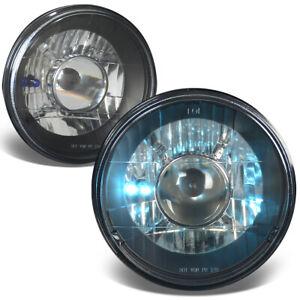 7x7 H6024/H6015 ROUND BLACK HOUSING PROJECTOR GLASS HEADLAMPS+H4 BULBS LIGHTS