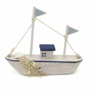Shabby Chic Nautical Wooden Boat Ornament | Sailing Fishing Boat Decoration