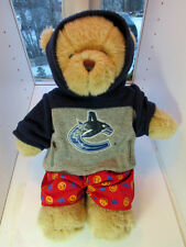 "VANCOUVER  CANUCKS   Hockey BEAR Hoodie Beige Toy Doll  Plush NHL  15""    EUC"
