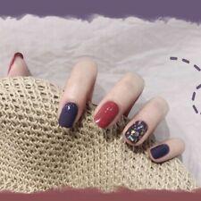 Press On Nails Artificial Foil Purple Red Design Manicure Finger Nail Art Decors