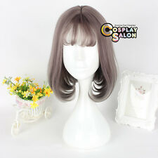 35CM Lolita Daily Heat Resistant Short Gray Brown Cosplay Wig Bob Thin Bang+Cap