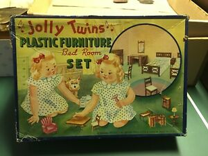 8pc Jolly Twins Renwal BEDROOM ROOM SET Vintage Miniature Dollhouse Furniture