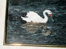 VINTAGE STONE INLAID PICTURE , SIGNED, FRAMED