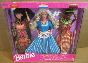 3 Doll Of The World Barbie Chinese Dutch Kenyan Limited Edition Set NEW Box Wear
