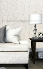 White & Silver With Glitter, Pussy Willow Design, Suede Effect / Feel  Wallpaper