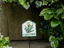 Hand Painted Iron Chives Herb Label On Garden Spike