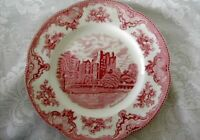Staffordshire Red / Pink Scenic Castle Plate - Made in England