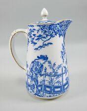Royal Crown Derby China BLUE MIKADO 16oz Hot Water Jug with Notched Lid