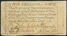 North Carolina #15527 5 Shillings Colonial Currency Note Dec 1771 Bt2761
