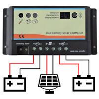 EPsolar 10A 20A Dual Battery Solar Panel Charge Controller 12V/24V Auto