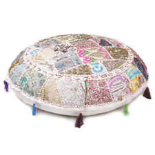 White Round Floor Cushion Cover Round Bohemian Patchwork Throw Pillow Cover 22""