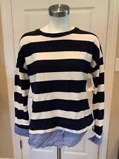 J. Crew Blue & White Striped Shirt W/Attached blue Cuff & Hem Detail, Size Small