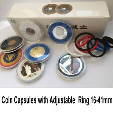 5 US Coin Capsules Case Display Storage Box with Adjustable Color Ring 16-41mm