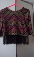 GIRLS SZ MED. JUNIOR AZTEC STYLE PRINT TOP WITH FRINGE BY ABSOLUTE ANGEL N Y