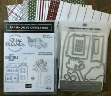 Stampin Up retired FARMHOUSE CHRISTMAS stamps, FRAMELITS & DSP ~Tree, Sentiments