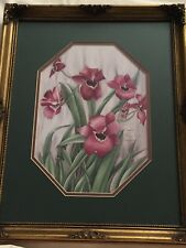 """CARMEL FORET PRINT """"ORCHID MILTONIA"""" IN DECORATIVE FRAME 1984 310/1500"""