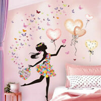 Cartoon Fairy Girl Wall Stickers Balloons Butterfly Decals Bedroom Decoration