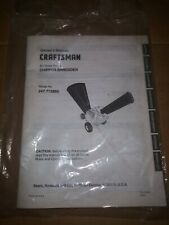 Sears Craftsman Owners Manual For 8.5 HP Chipper Shredder 247.775880
