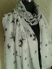 Ladies Black & White Christmas Glitter Leaf Print Fashion  Scarf.