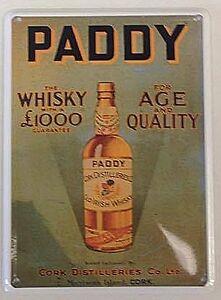 Paddy's Whiskey miniature metal sign / postcard 110mm x 80mm (hi)