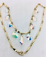 Beautiful Dangling Cut Crystal Bib Necklace Sparkling AB Stones Vintage Jewelry