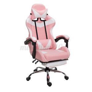 Ergonomic Gaming Computer Chair Swivel PU Footrest Lumbar Massage Support Office