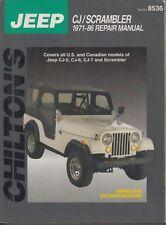 JEEP CJ-5 CJ-6 CJ-7 & SCRAMBLER 4-CYL 6-CYL V8 (1971-86) OWNERS WORKSHOP MANUAL