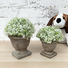 Artificial Realistic Plastic Green Dianthus Potted Flower Faux Plant In Urn Pot