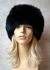 new w tags HAT - Genuine real BLACK FOX FUR and LEATHER with Pom Poms, S, bomber