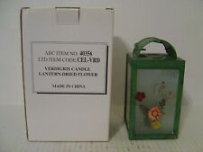 Verdigris Tea Light Candle Lantern With Dried Flower Arrangement New In Box